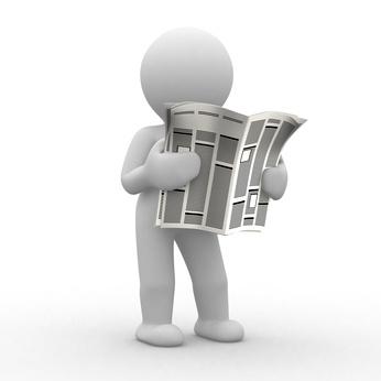 3d human read his news paper